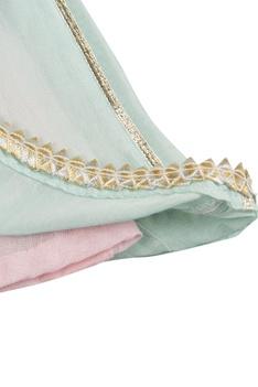 Pink & blue anarkali kurta with elastic band patiala & dupatta