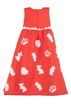 Red & white patchwork sleeveless gown