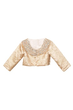 Peach net frilly lehenga with gold brocade jacket & solid blouse