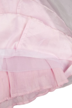 Rose pink tissue skirt with pearl hand embroidered blouse