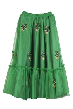 Goblin green net hand-embroidered lehenga set