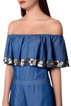 Blue denim off-shoulder jumpsuit