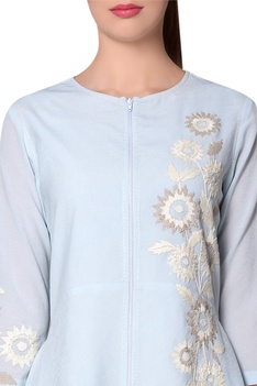 Icy blue floral georgette jacket-tunic