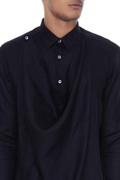 Black cowl style linen kurta shirt