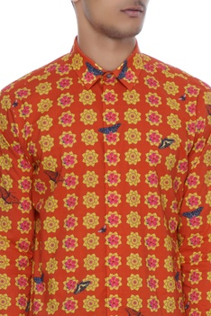 Red & yellow printed luxe cotton kurta shirt