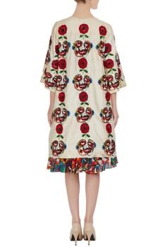 Beige raw silk jacket in sequin & bead embroidery