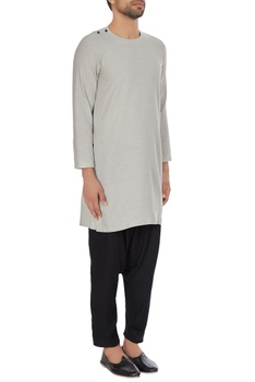 Grey khadi long kurta