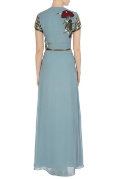 Blue embroidered gown with sequence waist-band