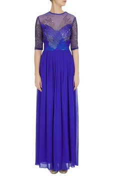 Blue silk net embroidered gown