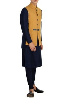 Mustard nehru jacket with buckle detail