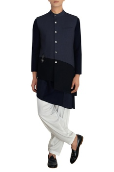 Blue & black poly-wool jacket with buckle detail