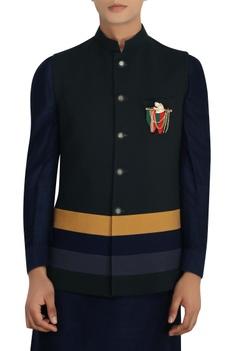 Bottle green poly-wool nehru jacket