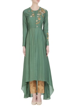 Flared tunic with embroidered floral motifs