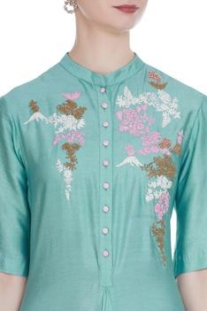 Draped layered tunic with resham embroidery