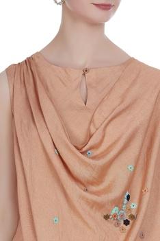 Draped tunic with asymmetric hemline