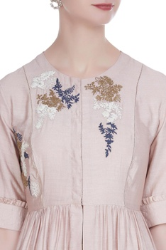 Thread work embroidered tunic with ruffle detail