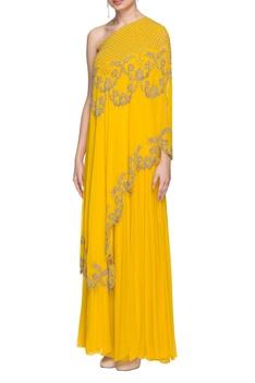 Sunflower yellow one shoulder kurta & skirt