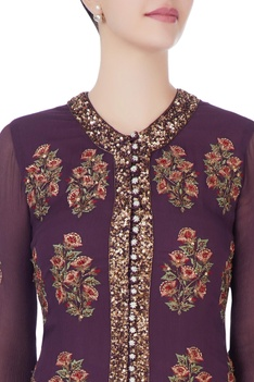 Burgundy brown jacket with palazzos & dupatta