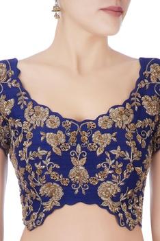 Blue & grey floral embellished lehenga