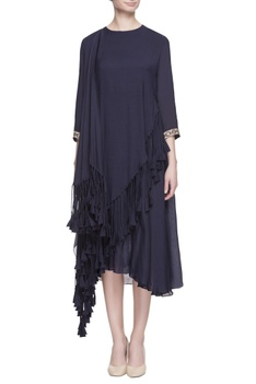 Navy blue layered tassel dress