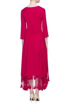 Pink tassel midi dress