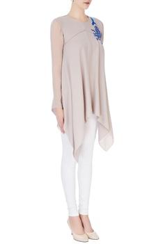 White pleated maxi kurta
