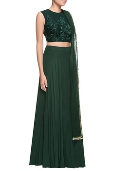 Green embroidered blouse & lehenga