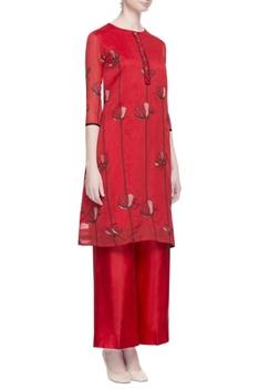 Red chanderi embroidered kurta & pants