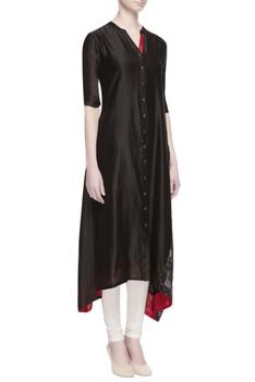 Black chanderi embroidered kurta