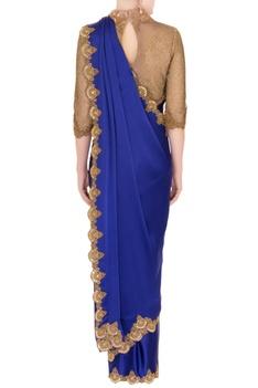 Blue satin saree with zardozi cutwork blouse