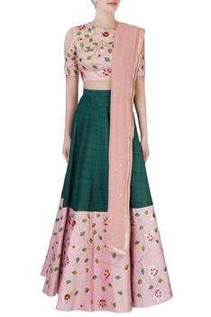 Pink & green embroidered lehenga set