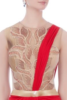 Red & beige sari gown