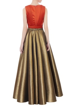 Rust crop top & antique gold flared skirt