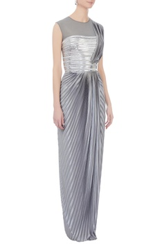 Grey metallic sari gown