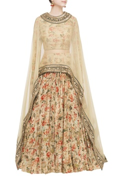 Pale pink organza printed skirt and cape