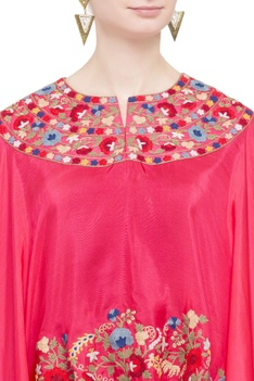 Pink & navy silk blue embroidered cape tunic