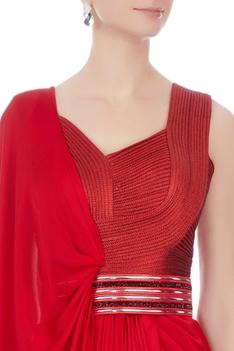 Red chiffon bead draped sari gown