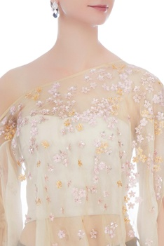Yellow chiffon sequin embroidered cape