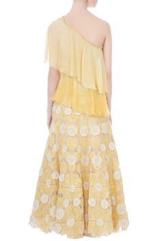 Yellow ombre chiffon tiered style one-shoulder blouse