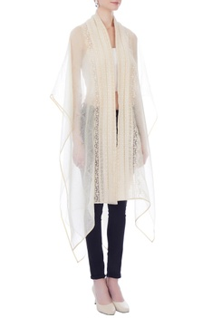 White & beige embroidered front open cape