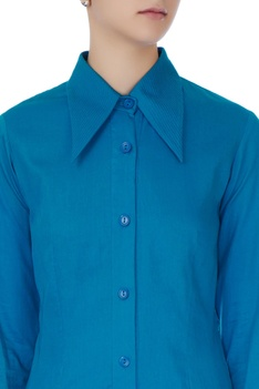 Celestial blue cotton satin shirt with organza layer