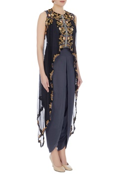Grey dhoti style jumpsuit with embellished cape