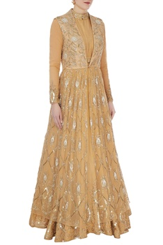 Beige sequin & bead embellished anarkali with net jacket