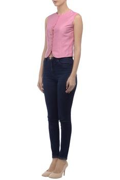 Pink embroidered sleeveless jacket