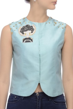 Pale blue sleeveless embroidered jacket