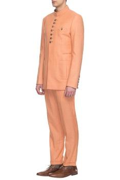Peach bandhgala & pants set