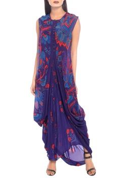 Purple printed kurti with floral prints
