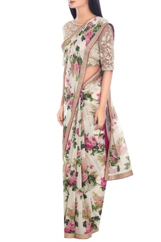 Off-white & pink floral print sari with blouse