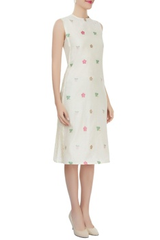 Off-white side pleated dress