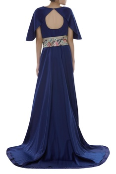 Embroidered gown with waistbelt